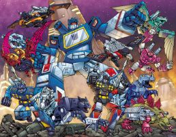 Soundwave groupshot by Dan-the-artguy