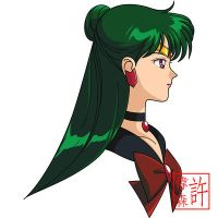 Sailor Pluto Face Anime Style by xuweisen