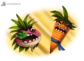Daily Paint #1025. Kakarot vs. Radish - DBZ by Cryptid-Creations