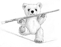 Tightrope walking teddy-bear by DavidCoombes