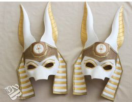 White Anubis Leather Egyptian Masks by b3designsllc