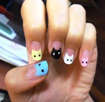 Colourful Cats Nails by wushini