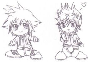 Chibichibi Sora and Roxas by purplelemon