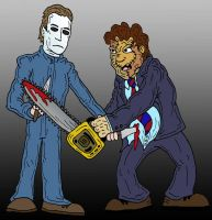 Michael Myers VS Leatherface by Lordwormm