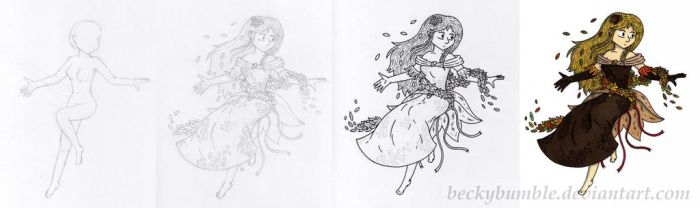 Stages in drawing by BeckyBumble