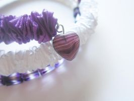Purple Heart Ribbon and bead Memory Wire Bracelet by Artisticat86