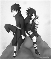 Madara and Sasuke by Komiya-chan