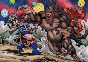 Fisto vs Shadow-beast by danbrenus
