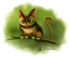 Daily Paint #1020. Cat-Owl by Cryptid-Creations