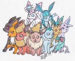 Eeveelutions by BaikoBits