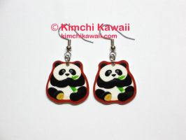 Fat Panda Earrings by kimchikawaii