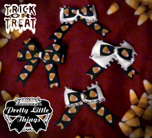Black Candy Corn Bows by zammap