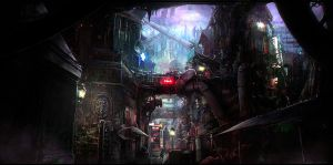 Blacklight street concept art by Sebastien-Ecosse