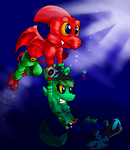 Art Trade: Ptero Carrying Fang in the Skies by Waver92