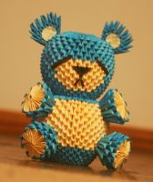 3D Origami Sad Blue Bear by OneLoneTree