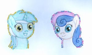 Lyra and Bon Bon in new style^-^ by EquestriasPonies