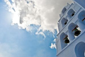 A lonely church, somewhere in Santorini by MonLerma