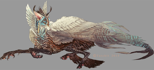 Blue Throated Winged Feonix design by Tatchit
