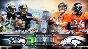 Super Bowl 48 Seattle Seahawks Denver Broncos Wall by DenverSportsWalls