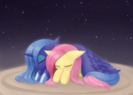 Weekly art#71 Luna Fluttershy good night rerendere by HowXu