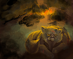 yellowfang- burning den by Appletail
