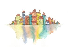 Colorful Little Floating Town by awkwardalpaca