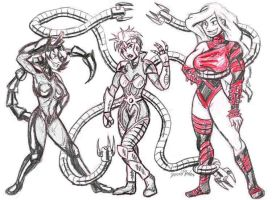 Spider Villainesses by strangefour