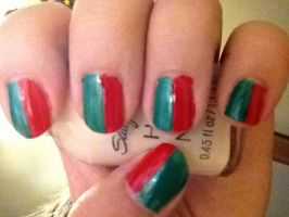 Easy Christmas nail art by jinxissuperbutterfly
