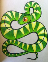 Curved Snake -Tattoo- by modestmonster