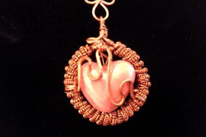 copper and heart pendant by slinkyskinked