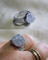 Blue Celestite Natural Crystal Ring by mymysticgems