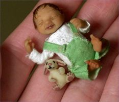 Miniature Baby doll Sculpture by aleahklay