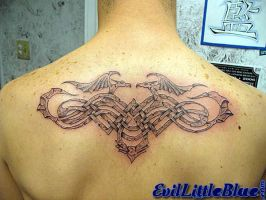Stone Celtic Tribal Backpiece by EvilLittleBlue