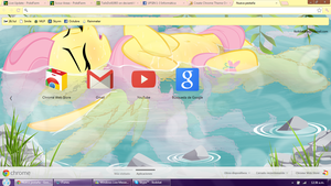 Fluttershy at the hot springs Google Chrome theme by LiatLNS