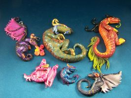 Commission #1 Group Shot 6 pendants by omfgitsbutter