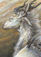 ACEO - Winter Deer Monster by Seaff