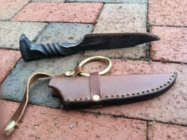 Hand Forged Railroad Spike with Hand Made Sheath by dtbt