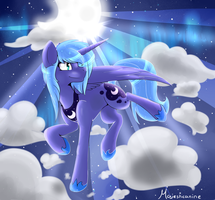 Cloud Jumping Princess Luna by kilIerqueen
