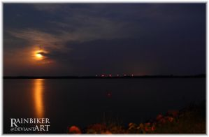 late night the moon over waterscape by Rainbiker