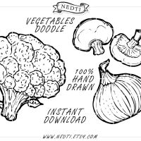 Vegetables Hand Drawn by Nedti by Nedti