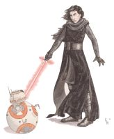 Kylo Ren and BB-8 by erinclaireb