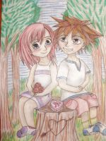Sora and Kiari tree stump by bunnyrabb567