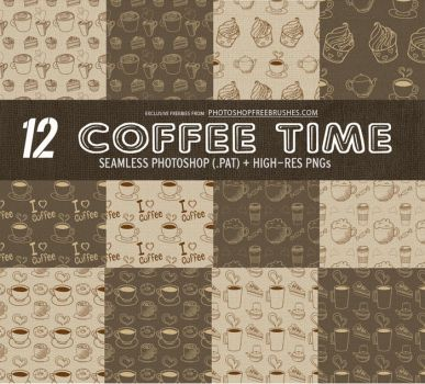12 Coffee Pattern Backgrounds with Burlap Texture by fiftyfivepixels