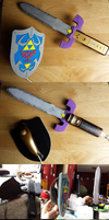 Hylian Shield and Master Sword - Process Pics by ShikaNime
