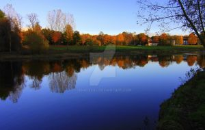 Autumn along the Lower River Tees: Croft on Tees by IanAlexBl