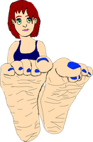 anime feet red hair blue toes by theangrypencil