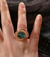 wire wrapped copper aquamarine ring by Toowired