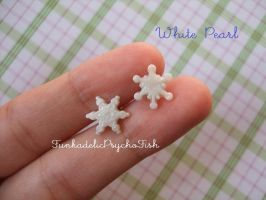 Mismatched Snowflake Earrings - Pearl White by FunkadelicPsychoFish