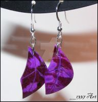 Purple Leaf Earrings by 1337-Art
