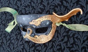 Bronze Dragon Half Mask by merimask
